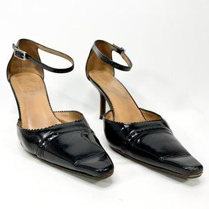 GUCCI Black Patent Leather Wingtip Ankle Heels